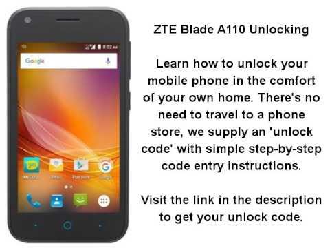 Unlock ZTE Blade A110 - SIM Network Unlock PIN
