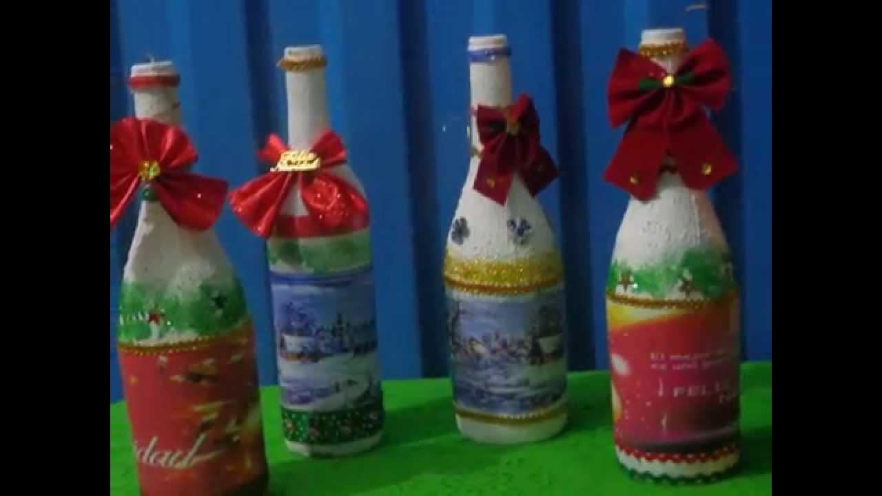 Botellas navide as pedido 5332245 cel 985214387 youtube - Botellas decoradas navidenas ...