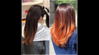 42. Окрашивание волос в рыжий оттенок. Балаяж.