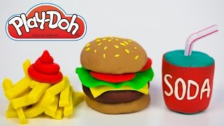 Play Doh Food How to Make Play Doh Hamburger Burger French Fries Soda Bun Ketchup