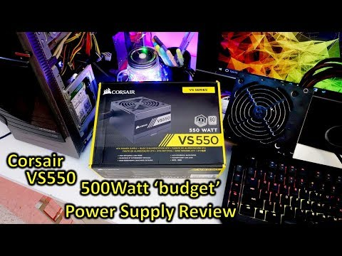 Corsair VS550 550Watt power supply review, how many connectors, cables and testing (new model)