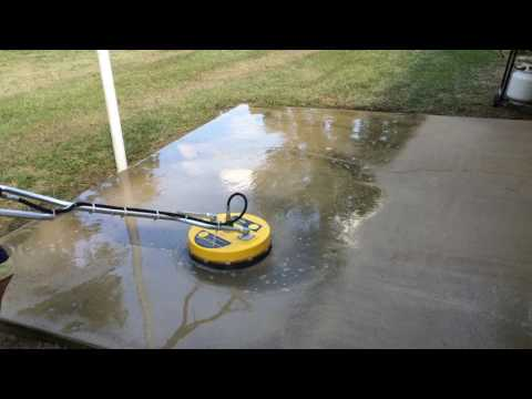 Power washing a patio with a surface cleaner