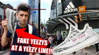 Wearing FAKE YEEZYS AT THE ADIDAS STORE YEEZY LINE! | Social Experiment