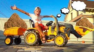 Экскаватору на помощь приехал Новый Трактор с Прицепом.  Алекс собирает машинку и перевозит груз