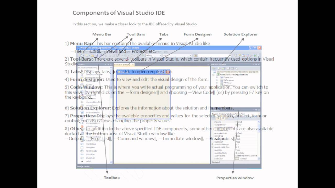 Components of Visual Studio IDE