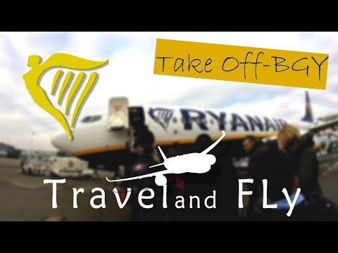 Ryanair Boarding ,Taxi and bad weather TakeOff from Milan Bergamo