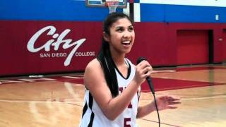 Nicole Laforteza sings National Anthem San Diego City College Women