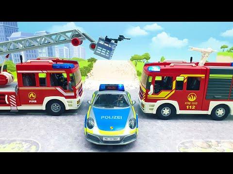 Мультфильмы про машинки - Полицейская Пожарная машина. Развивающие видео с игрушками для детей 2020.