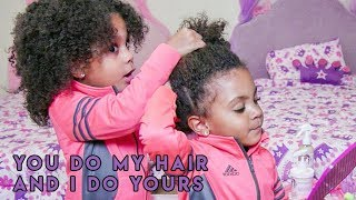 TWINS STYLE EACH OTHER'S HAIR (By Themselves)! thumbnail