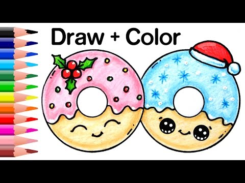 How to Draw Christmas Donuts Easy and Cute