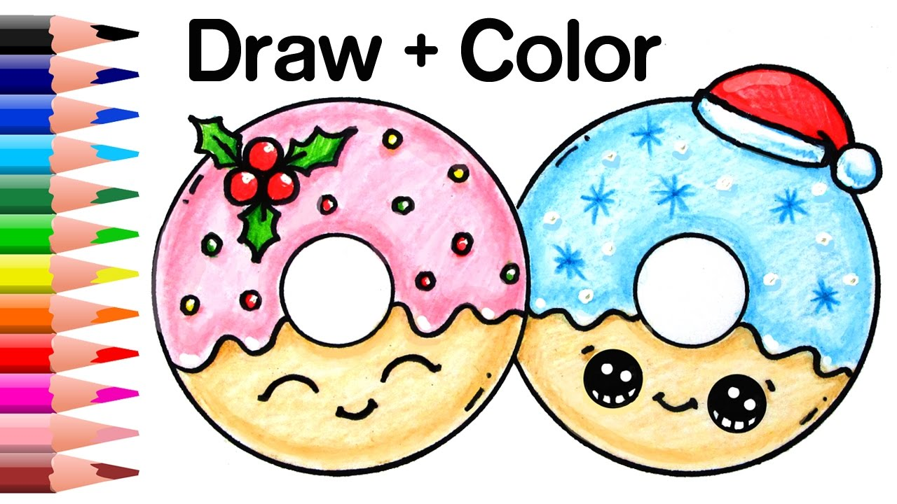 how to draw christmas donuts easy and cute youtube - Christmas Drawings Step By Step