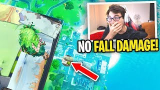 How to NOT TAKE FALL DAMAGE from ANY HEIGHT in Fortnite... (crazy glitch)
