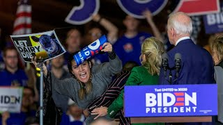 Animal rights activists tackled by security during Joe Biden speech in California
