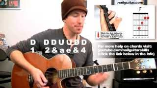 How to play Fireflies on Guitar Lesson - Extra Easy Beginners Acoustic Owl City Tutorial Pt.2