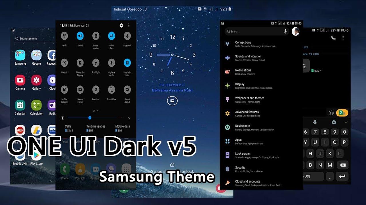 One UI v5 Final Dark Night Samsung Theme Oreo & Nougat