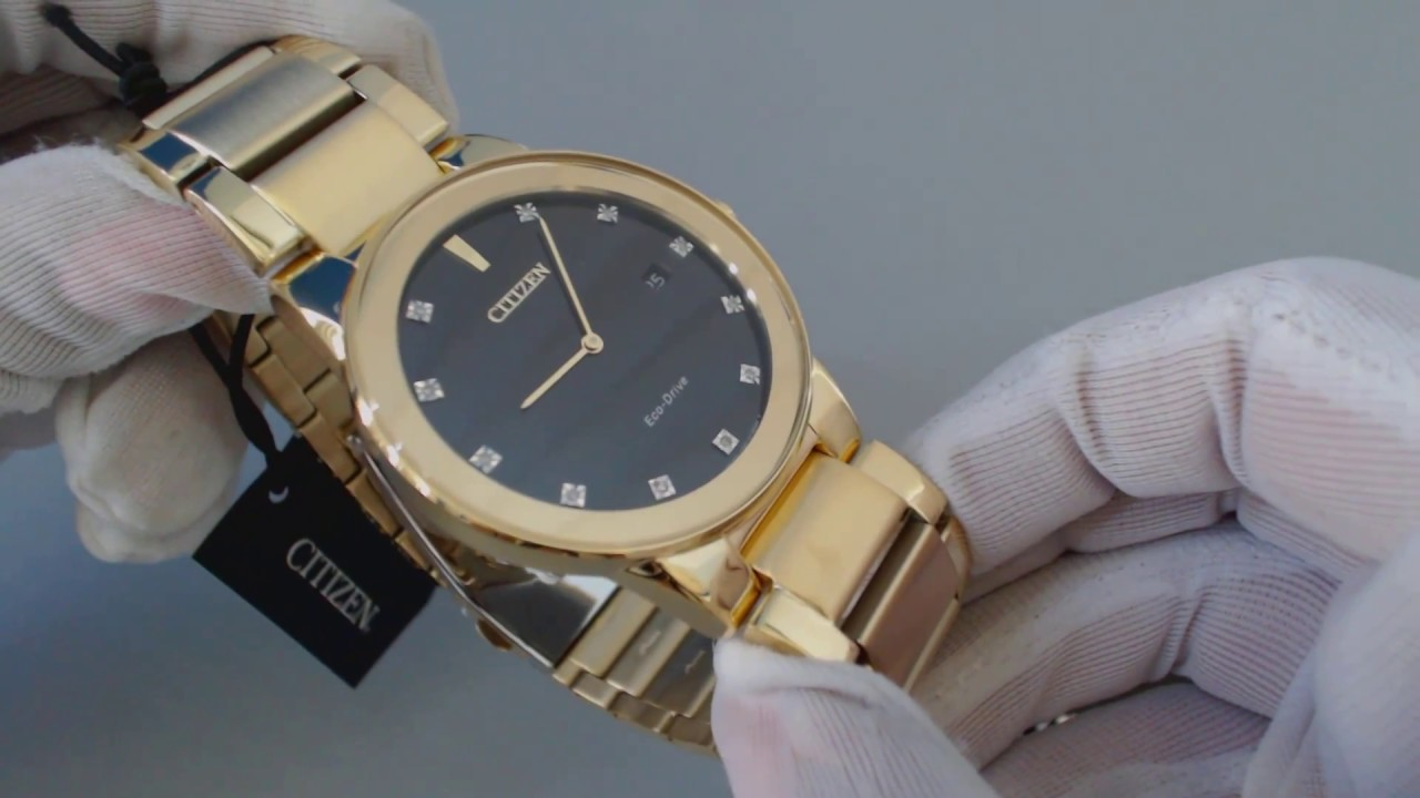 3d361e5d8 Men's Gold Tone Citizen Eco Drive Axiom Diamond Watch AU1062 56G - YouTube