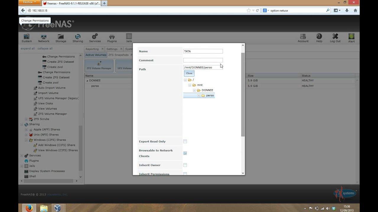 Installation freenas 9 (partie 2) (creation volume, dossier et partage  windows)