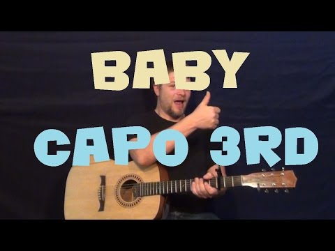 Baby (JUSTIN BIEBER) Easy Guitar Chord Strum Beginner Lesson - How to Play Baby