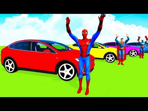 COLOR TESLA CARS & Boats wSuperheroes Cartoon for Kids and Babies w Nursery Rhymes