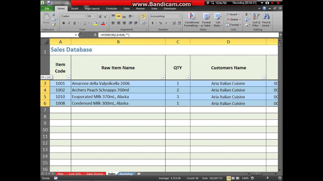 Microsoft Excel Inventory And Invoicing System