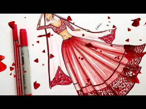 Fashion Design Painting By Santanu Das How To Draw Fancy Dress For Biggner 1st Collection Of 2k18 Youtube