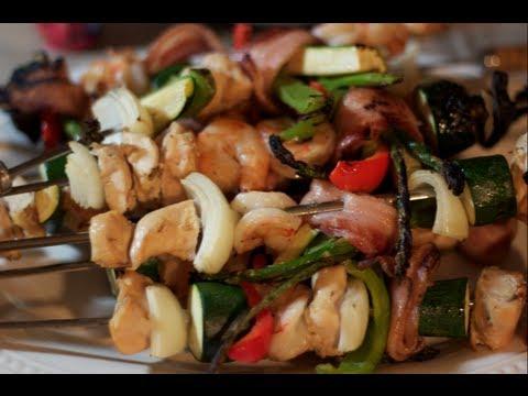 Shrimp, Chicken, Veggie & Bacon Kabobs Recipe