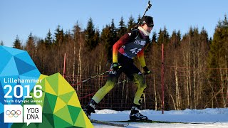 Biathlon 6km Sprint - Juliane Fruehwirt (GER) wins gold | ​Lillehammer 2016 ​Youth Olympic Games​