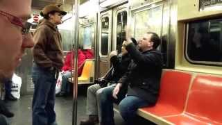 Angry Panhandler versus Gay Couple on NYC Subway - SCROLL DOWN FOR PART II