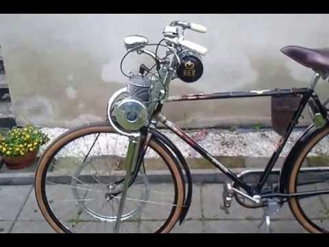 Rex Motoren Werke FM50 1958 mit Express Fahrrad, Gleiwitz