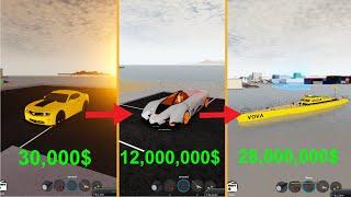 My car evolution in vehicle simulator (how i got rich)   Roblox Vehicle Simulator #13