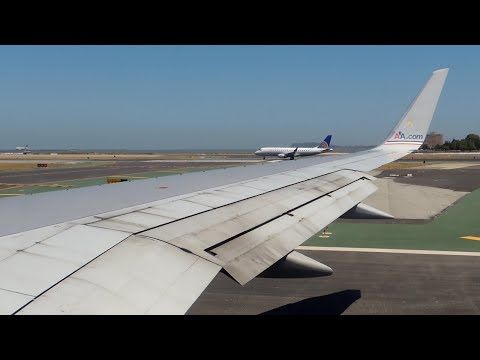 American Airlines Boeing 757-200 Flagship Freedom [N690AA] pushback, taxi, and takeoff from SFO