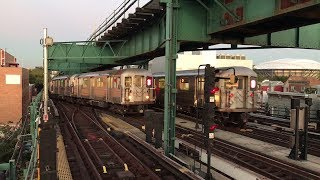 NYC Subway HD 60fps: R62A 7 Trains Relaying @ 111th Street (10/18/17)