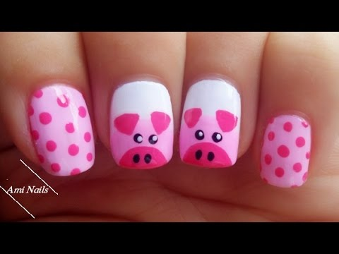 Cute Pigs Nail Art Tutorial 🐷 | Ami Nails - Cute Pigs Nail Art Tutorial 🐷 Ami Nails - YouTube