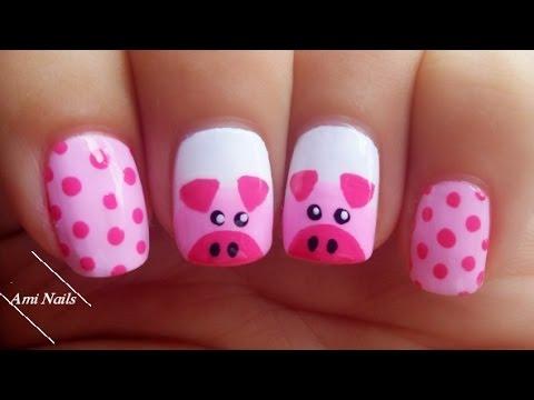 Cute Pigs Nail Art Tutorial  | Ami Nails - YouTube
