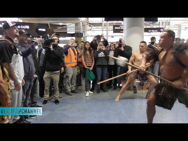 Andy Ruiz (wearing All Black Jersey) welcomed to Auckland with Powhiri