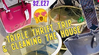 TRIPLE THRIFT TRIP FT. GUCCI & TORY BURCH & CLEANING THE HOUSE | THRIFT & VLOG S2.E27