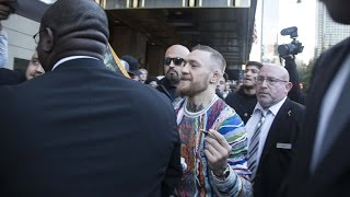 conor mcgregor gets mobbed by fans on way to ufc 205 media day the mac life