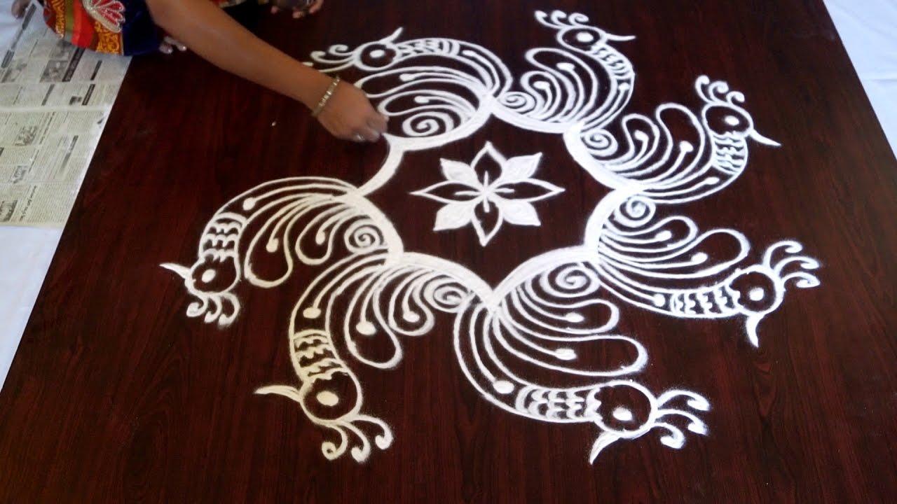 without dots rangoli || small rangoli designs without dots ...
