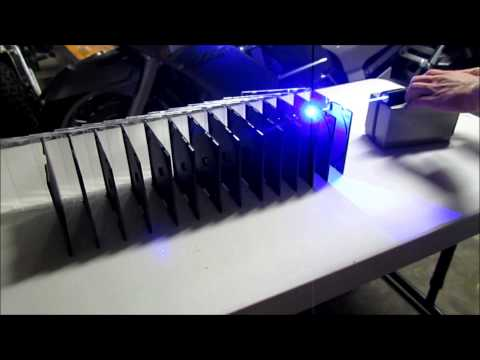 DIY 3000mW Blue Laser Pointer Burning Through 14 CD Cases - Wicked Lasers Spyder Killer
