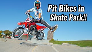 Riding Pit Bikes in Skate Park!!