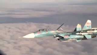 Russian Su 27 Flanker intercepts P 3 Orion over Baltic Sea Nov  2014