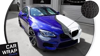 BMW M6 wrapped half Black, half White Crocodile Skin