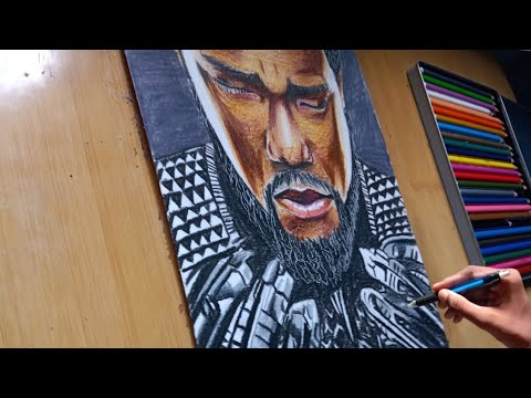 Color Pencil Sketch Of Black Panther Rip Black Panther Ripblackpanther Youtube