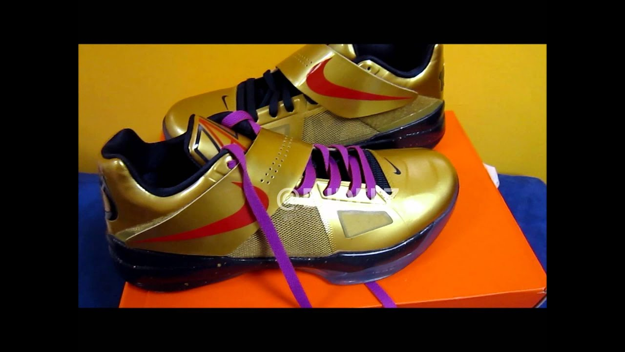 2012 Nike KD Gold Medal 4 Sneaker With Purple Laces Close Up Look With   DjDelz - YouTube 85b87eda5