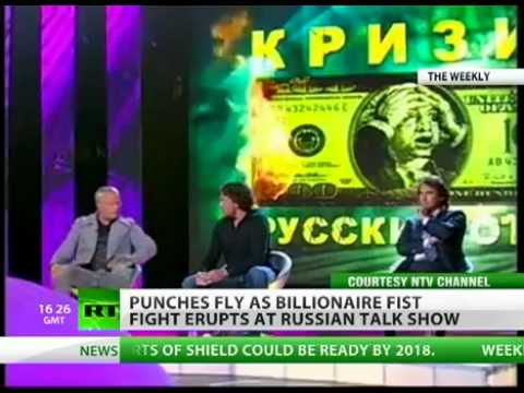 "Russian billionaire directed to ""knockout punch"" to a businessman during a television program"