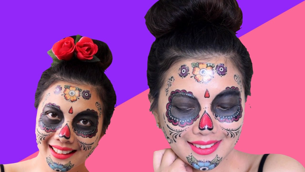 $1 day of the dead costume tattoos/face tattoos for halloween - youtube
