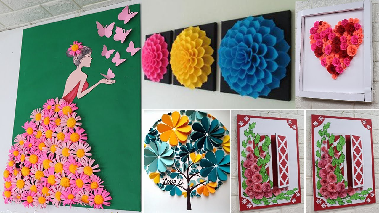 Home Decorating Ideas Handmade With Paper Easy Beautiful Wall Decor Youtube