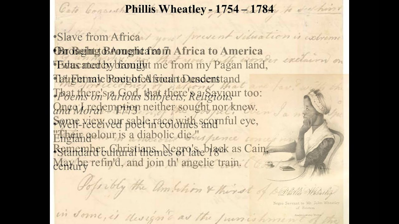 an introduction to the history of phillis wheatley Introduction the illustration that phillis wheatley portrays in history is an african- american woman who wrote poetry her life goes more into depths that what is.