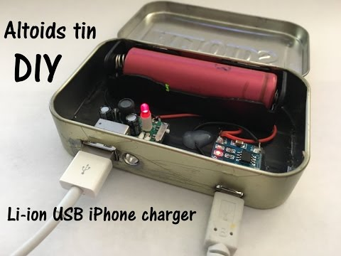 DIY 18650 powered, solarcharged iPhone charger in an Altoids tin - part 2 - Wiring and install