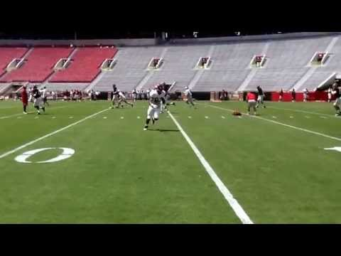 Alabama QB & WR Drills inside Bryant-Denny Stadium. Blake Sims & Jacob Coker